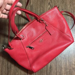 Coach Praire Satchel Red pebbled leather Bag